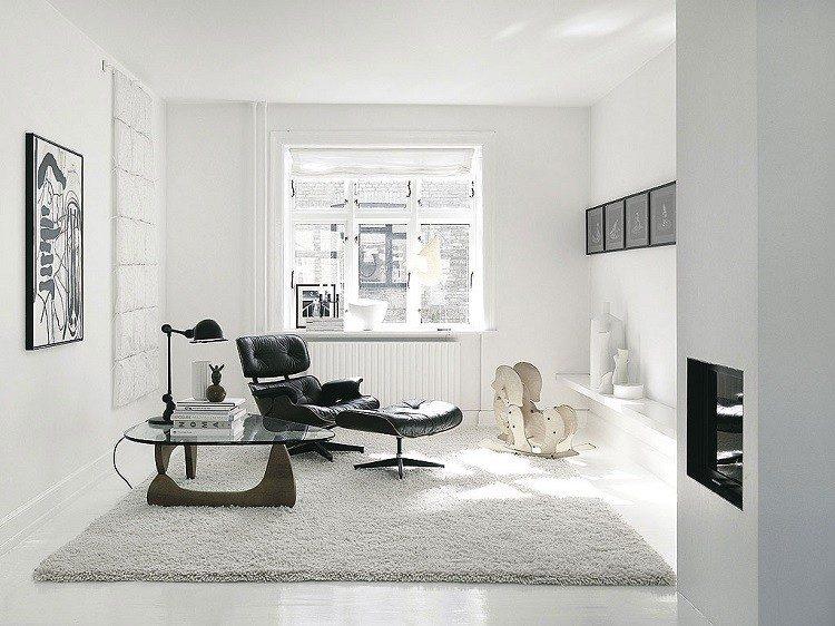 sillon negro mesa cristal salon pequeno ideas