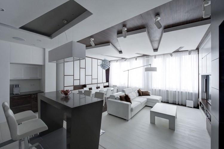 sofa blanca cojines marrones salon ideas