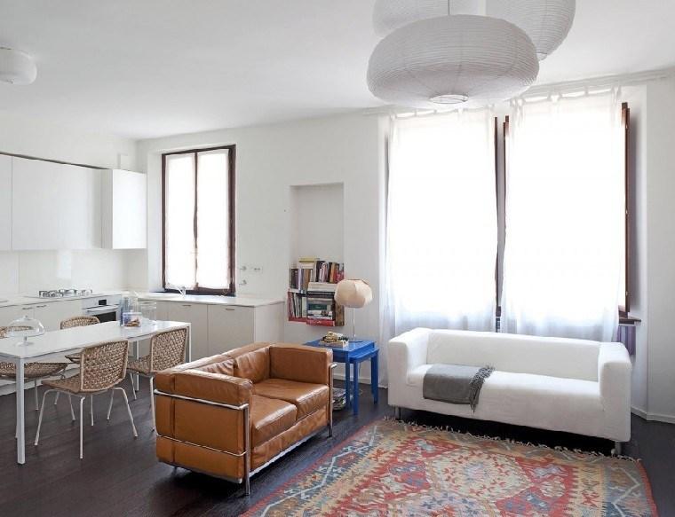 sofa cuero alfombra vintage mesa azul ideas