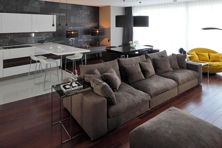 sofás energía oscura salon moderno abierto cocina ideas