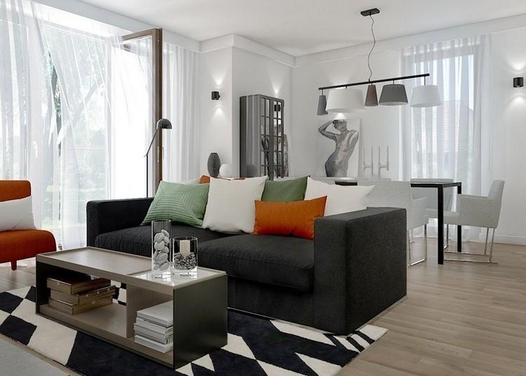 sofás energía oscura salon moderno alfombra blanco negro ideas