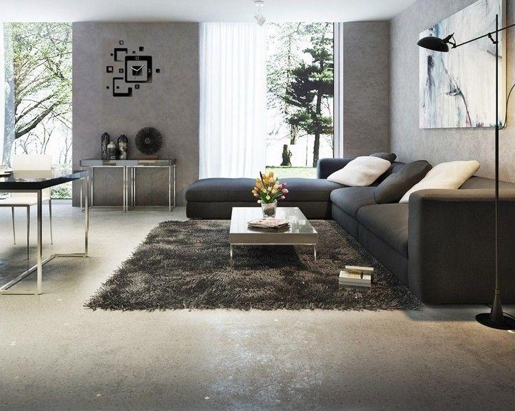 sofás energía oscura salon moderno alfombra peluda ideas