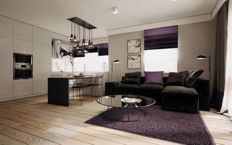 sofás energía oscura salon moderno alfombra purpura ideas