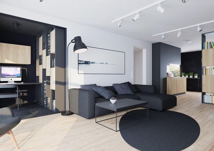 sofás energía oscura salon moderno alfombra redonda oscura ideas