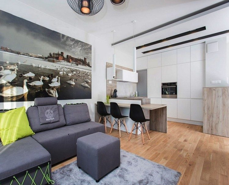 sofás energía oscura salon moderno apartamento ideas