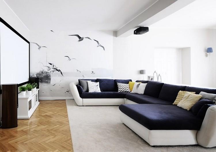 Sof s energ a oscura en el sal n moderno - Salones con sofa negro ...