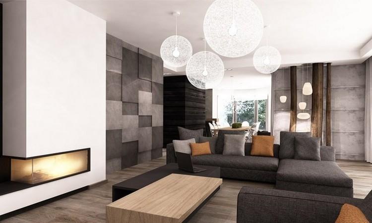 sofás energía oscura salon moderno chimenea ideas