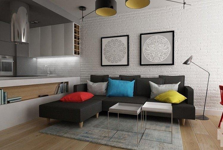 sofás energía oscura salon moderno cojines colores ideas