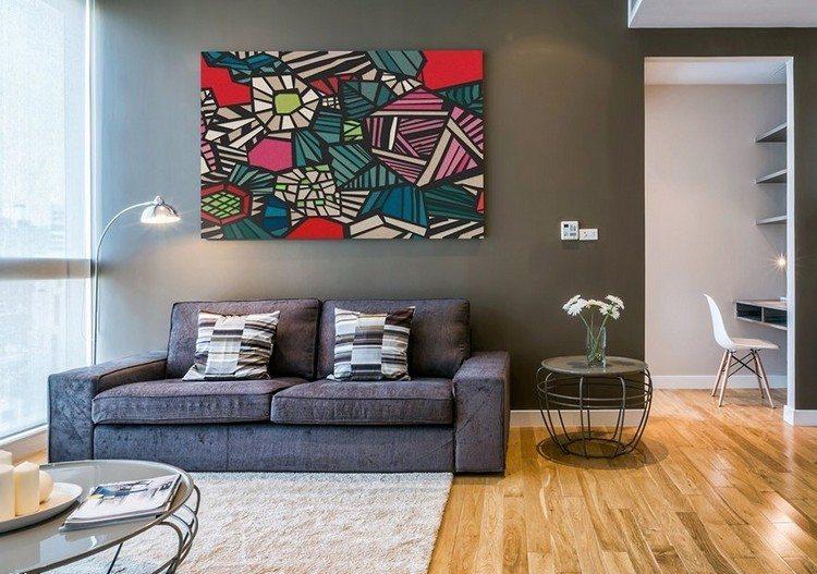 sofás energía oscura salon moderno cuadro colores ideas