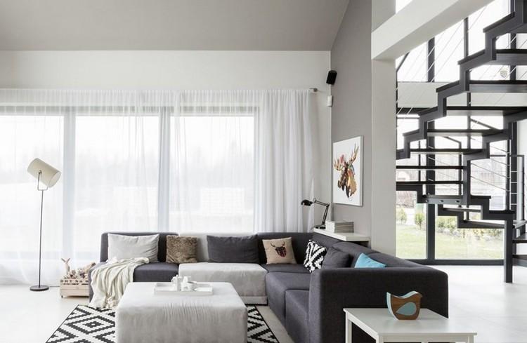 sofas energia oscura salon moderno escaleras ideas