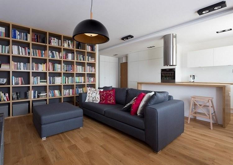 sofas energia oscura salon moderno estanterias ideas