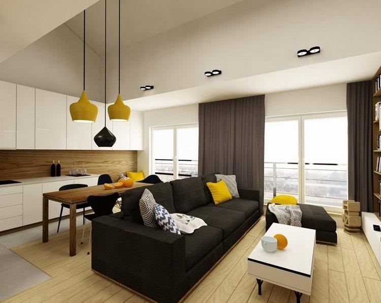 sofas energia oscura salon moderno lamaparas amarillas ideas