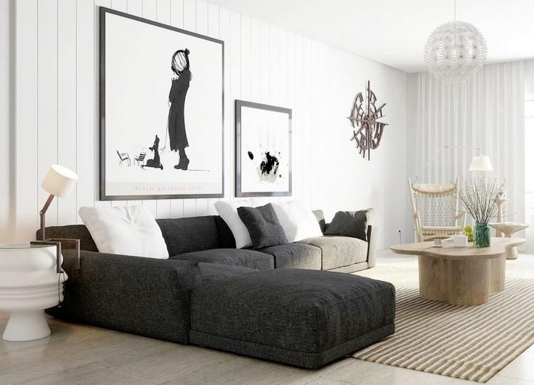 sofas energia oscura salon moderno mesa madera natural ideas