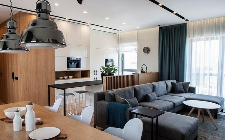 sofas energia oscura salon moderno mesa madera ideas