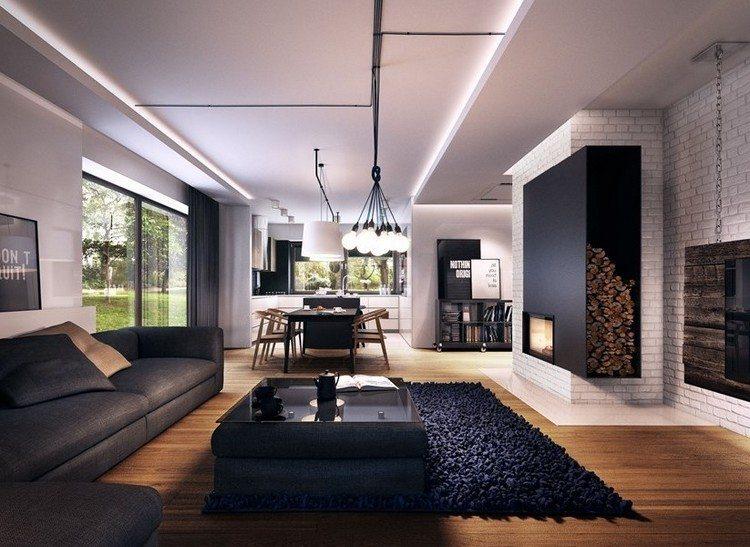 sofas energia oscura salon moderno muebles negros ideas