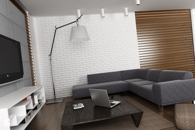 sofas energia oscura salon moderno pared ladrillo ideas