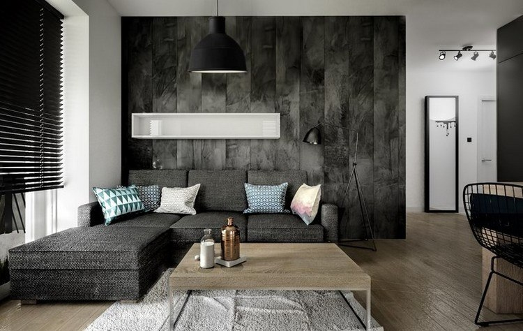 sofas energia oscura salon moderno pared gris ideas