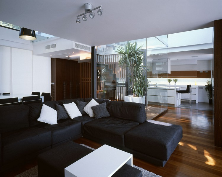 sofas energia oscura salon moderno plantas ideas