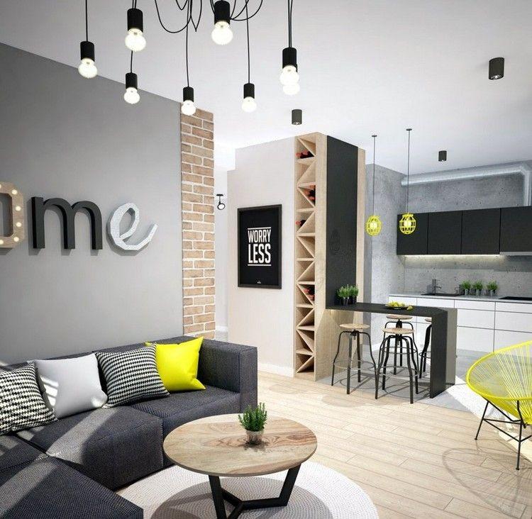 sofas energia oscura salon moderno toques amarillo ideas