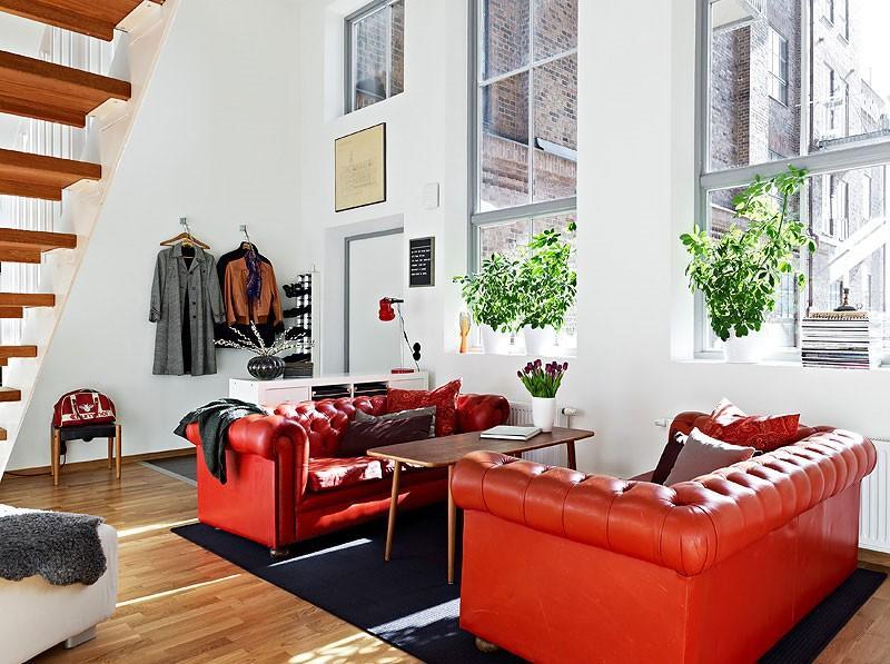 sofas salon cuero naranja preciosas ideas