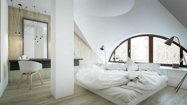 suelo madera espejo lamparas camas