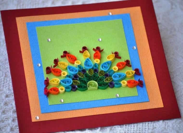 tarjeta navideña casera varios colores