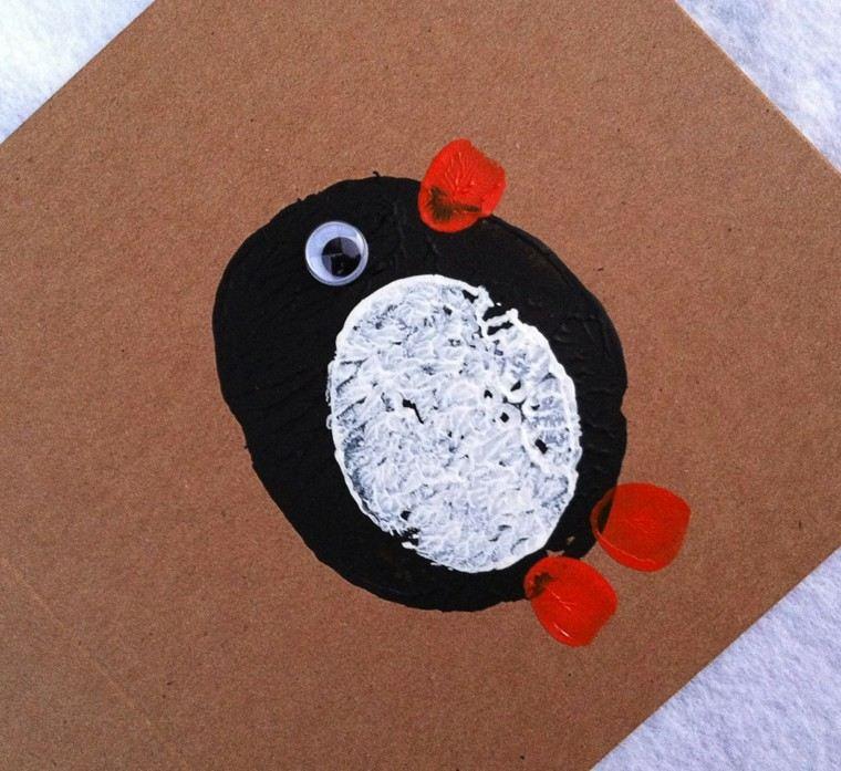 tarjeta casera diseño pinguino casero