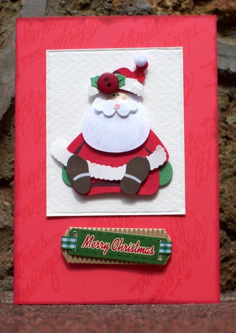 tarjeta navidad decorada papa noel