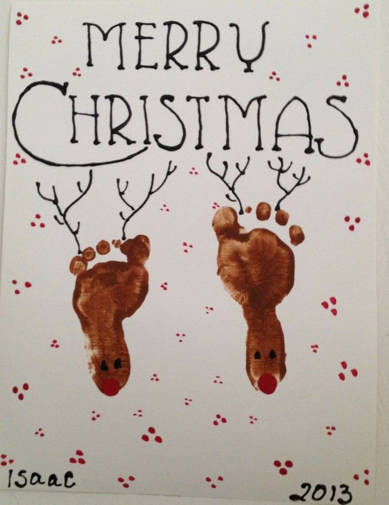 tarjeta navidad renos pies
