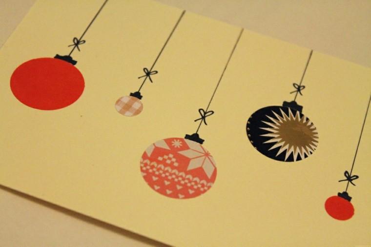 tarjeta navideña bolas navidad colgantes