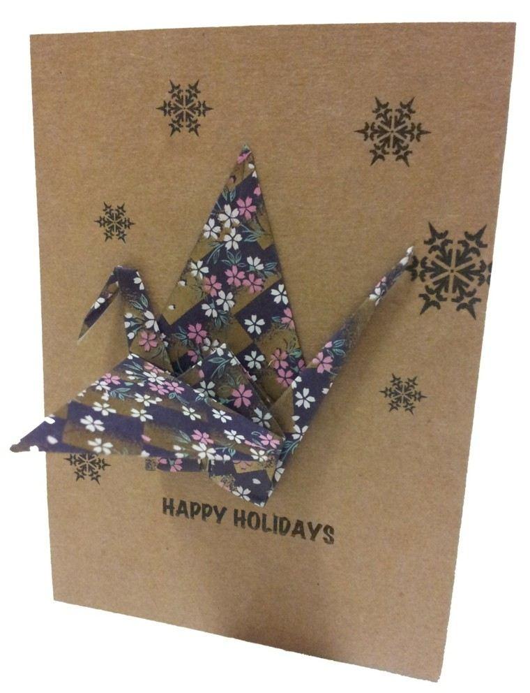 tarjeta navideña decorada pajarita carton