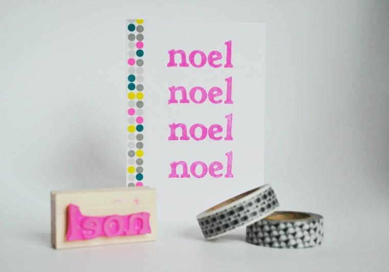 tarjeta noel pintura color rosa