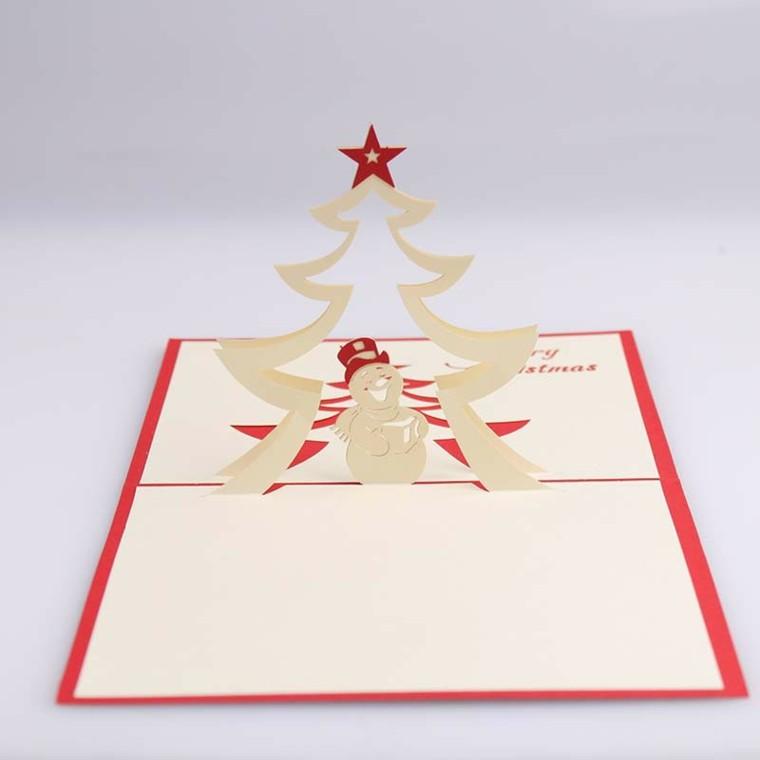 tarjeta oriogami arbol navidad cartón