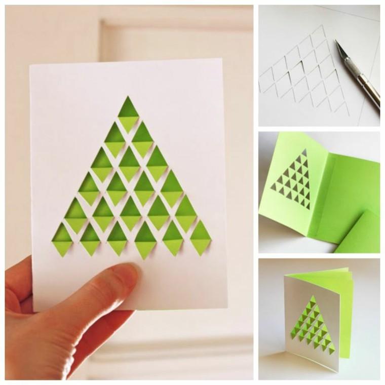 tarjeta navideña sencilla abeto verde