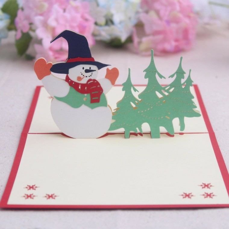 tarjeta origami muñeco nieve abetos