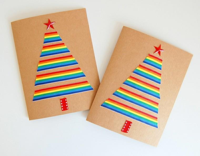 tarjetas de navidad abetos bandas arcoiris