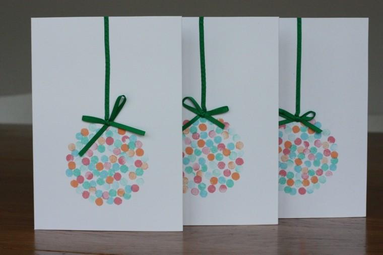 tarjetas navideñas bolas navidad lazos