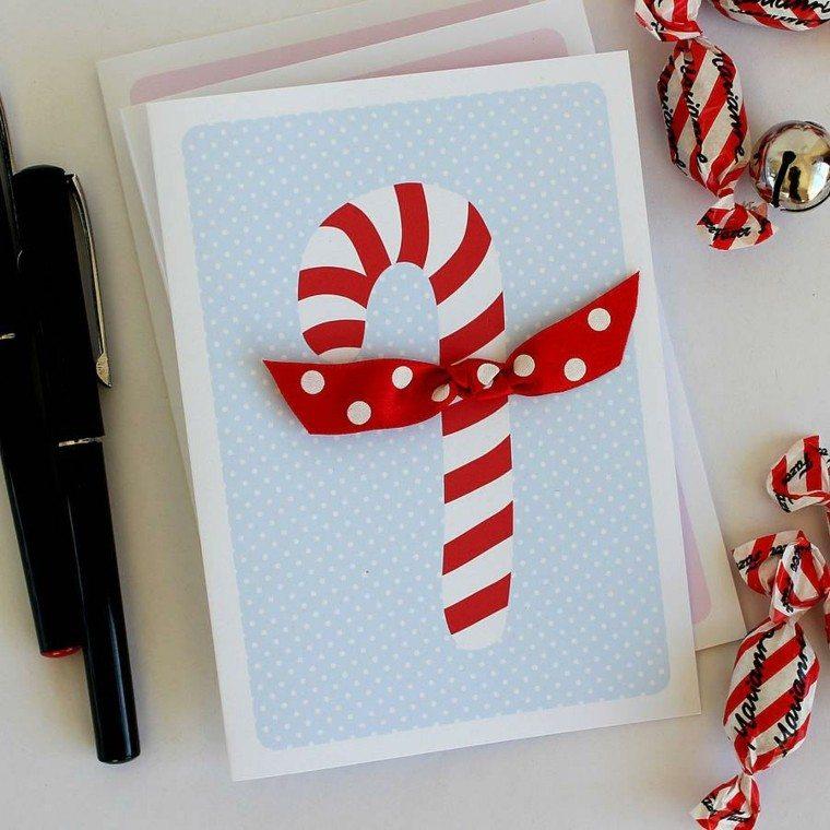 tarjetas navideñas caseras baston navidad