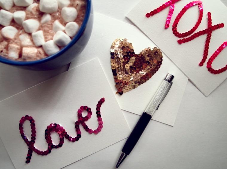 tarjetas navidad letras decoradas lentejuelas