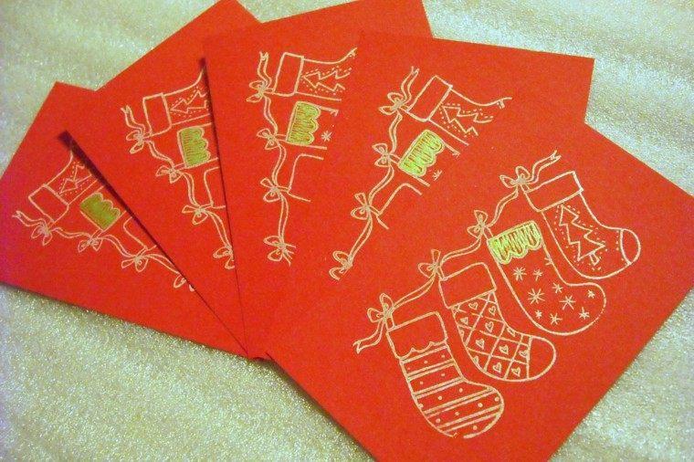 tarjetas rojas calcetines navidad deco