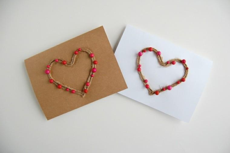tarjetas sencillas caseras corazones cuerda