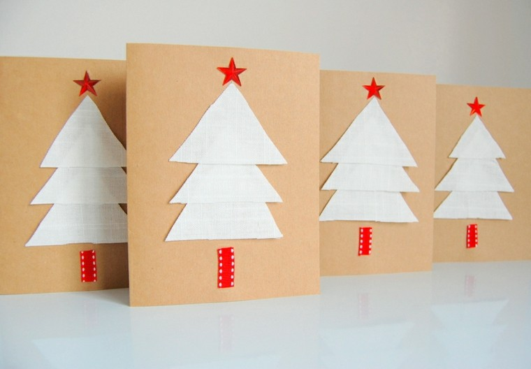 tarjetas sencillas caseras abetos blancos