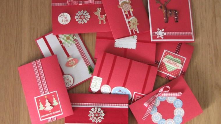 tarjetas navideñas rojas caseras navidad