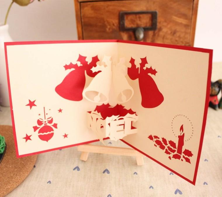 tarjetas caseras decoradas campanas rojas