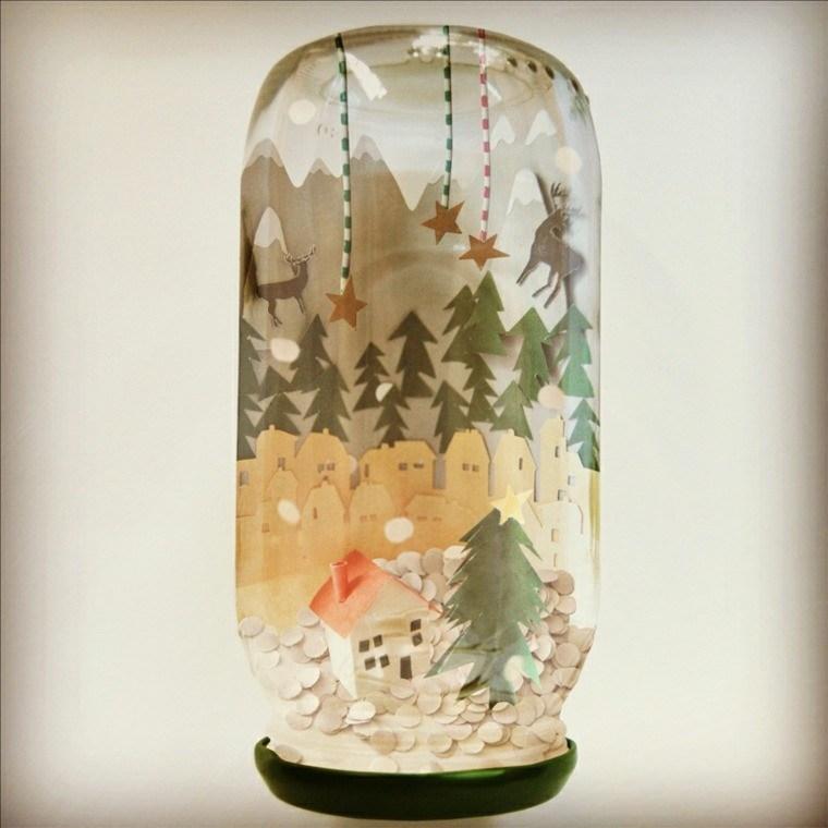 tarro vidrio adornos cartulina nieve