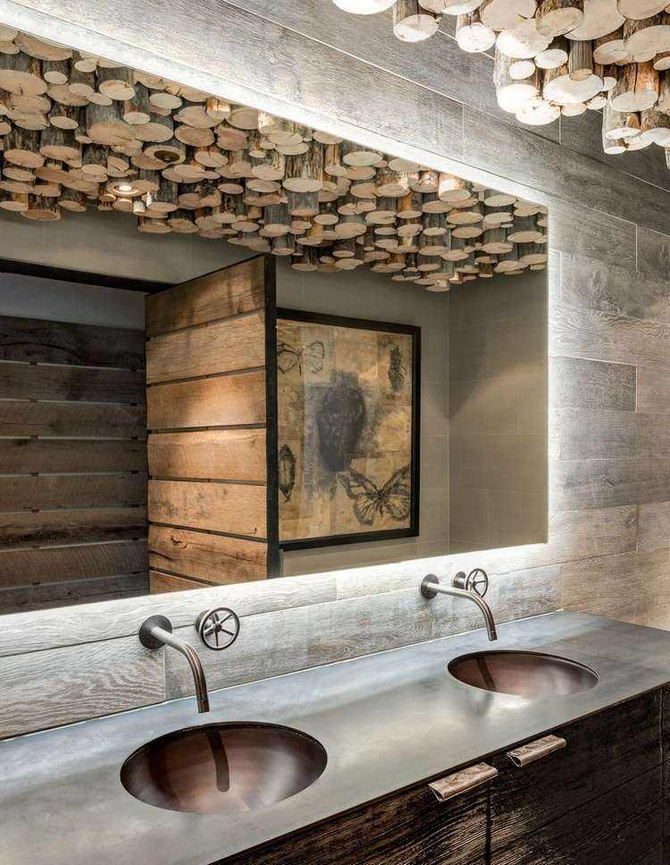 techo baño troncos lamparas madera