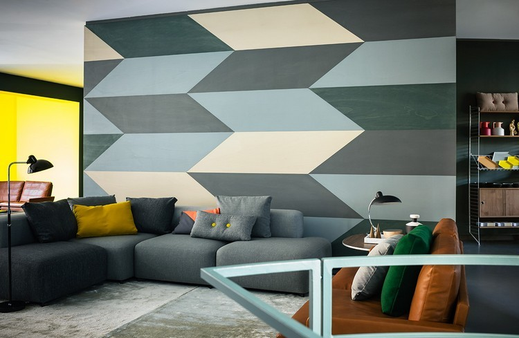 tonos azules grises pared moderna