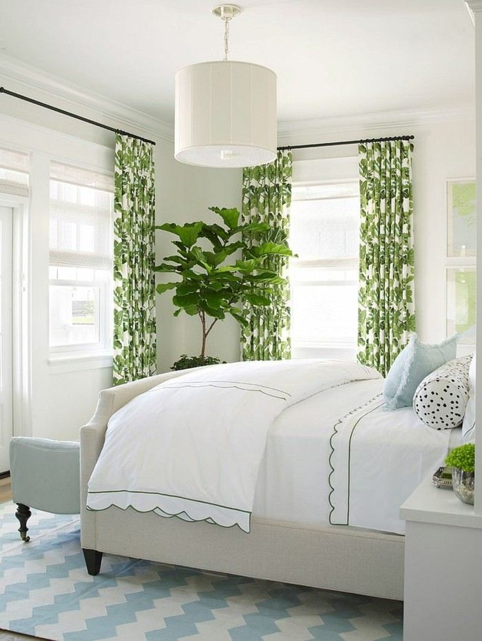 Burnham Design cortinas verde blanco dormitorio ideas