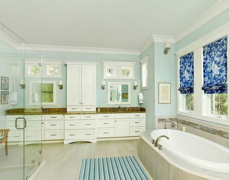 DLB Custom Home Design color azul bano ideas