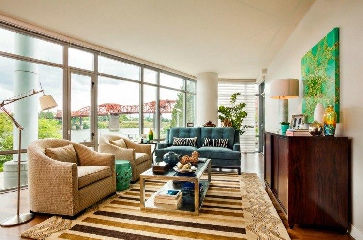 Garrison Hullinger alfombra rayas sofa azul ideas